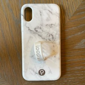 iPhone X Loopy Max Case in white marble